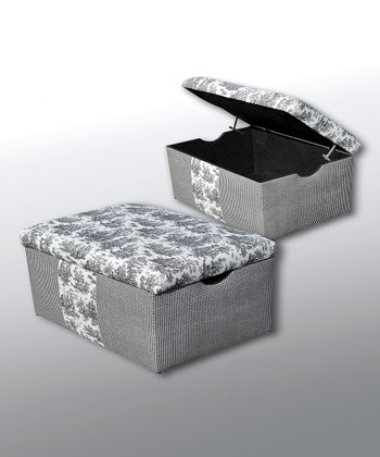Black & White Toile Bodin Storage Trunk
