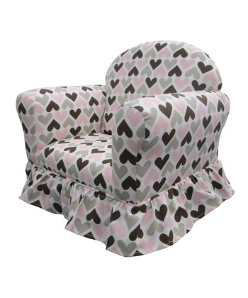 Pink & Black Heart Ella Skirted Club Chair