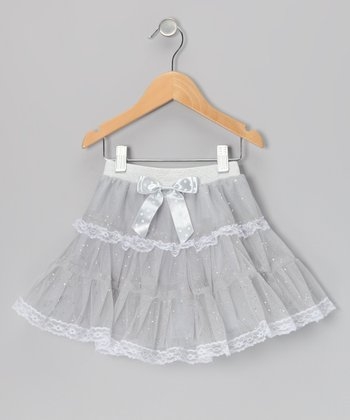 Silver Glitter Lace Tutu - Toddler & Girls
