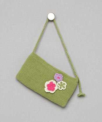 Green Floral Clutch Purse