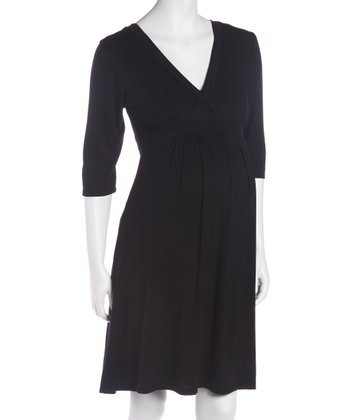 Black Three-Quarter Sleeve Maternity & Nursing Dress