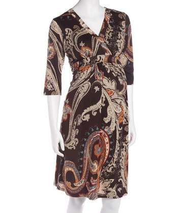 Paisley Three-Quarter Sleeve Maternity & Nursing Dress