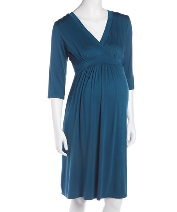 Teal Three-Quarter Sleeve Maternity & Nursing Dress