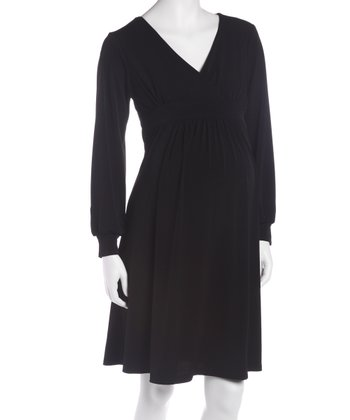 Black Empire-Waist Maternity & Nursing Dress