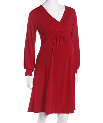 Red Empire-Waist Maternity & Nursing Dress