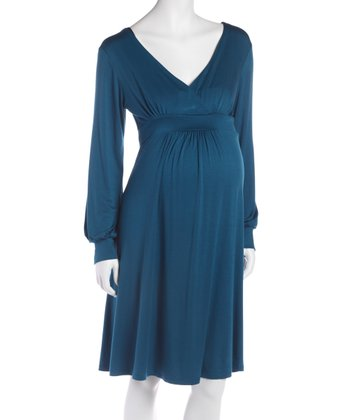 Teal Empire-Waist Maternity & Nursing Dress