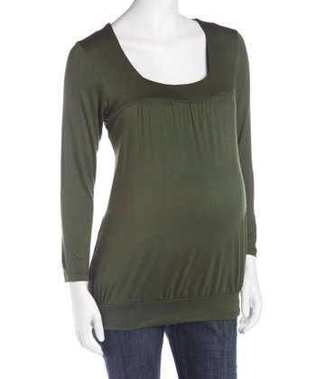 Olive Banded Maternity Top