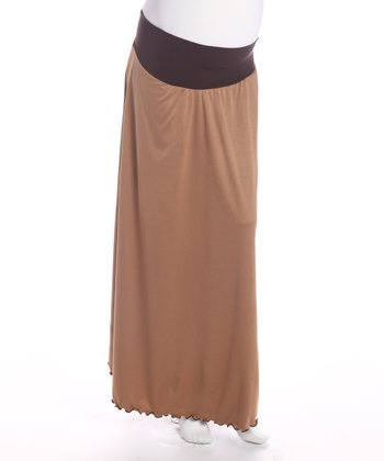Tan Under Belly Maternity Skirt