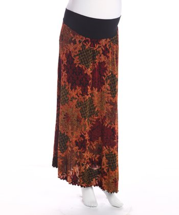 Orange Floral Under Belly Maternity Skirt