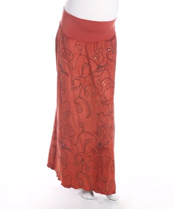 Orange Embroidered Under Belly Maternity Skirt