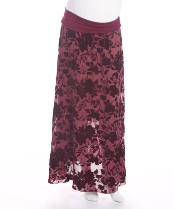 Dark Red Floral Under Belly Maternity Skirt