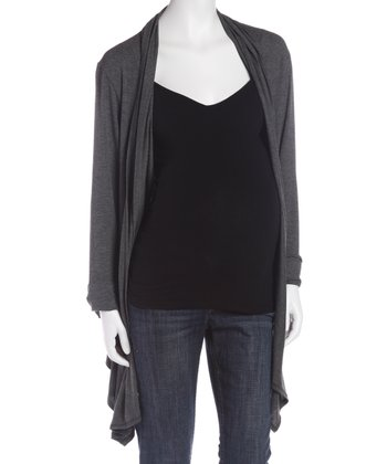 Gray Maternity Open Cardigan