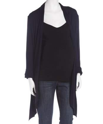 Navy Maternity Open Cardigan