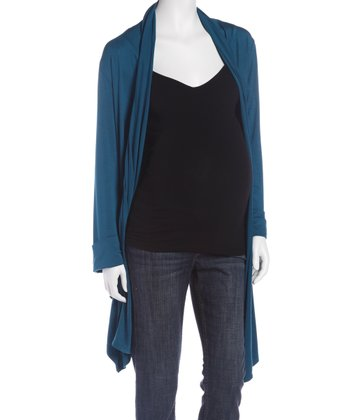 Teal Maternity Open Cardigan
