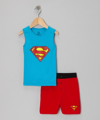Blue & Red Superman Tank Pajama Set - Boys