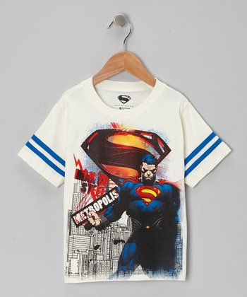 White Superman 'Metropolis' Tee - Kids