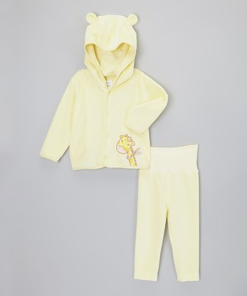 Yellow Giraffe Hooded Cardigan & Pants - Infant