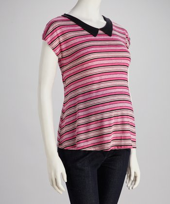 Fuchsia Stripe Maternity Top - Women