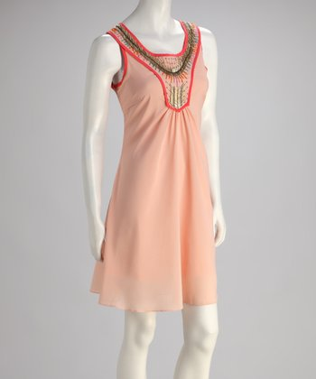 Peach Beaded Sleeveless Dress