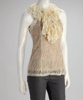 Cream Lace Ruffle Collar Tank