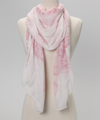 White & Pink Omkara Prayer Shawl