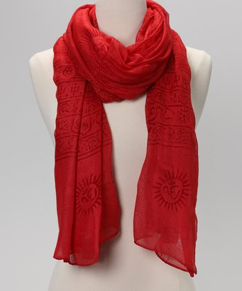 Poppy Red Mahadeva Prayer Shawl