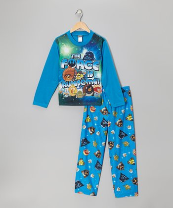 Blue 'The Force' Star Wars Angry Birds Pajama Set - Kids