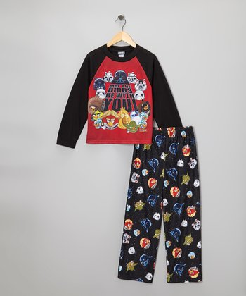 Black Star Wars Angry Birds Pajama Set - Kids