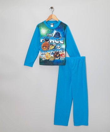Blue Star Wars Angry Birds Pajama Set - Kids
