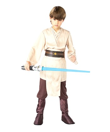 White & Brown Deluxe Jedi Knight Dress-Up Set - Kids