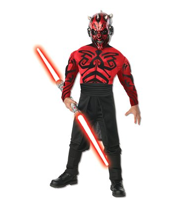 Black & Red Deluxe Muscle Chest Darth Maul Dress-Up Set - Kids