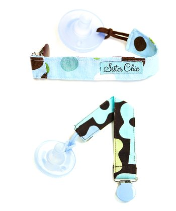 Sky Dot & Brown Groovy Guitar Binkiband Set