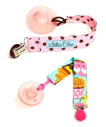 Pink Dot & Turquoise Sweet Treats Binkiband Set