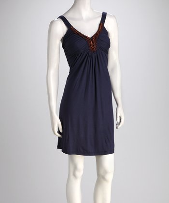 Navy Goan Beaded Dress