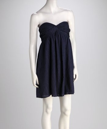 Navy Jacquard Capri Dress