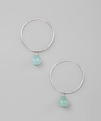 Green Chalcedony & Sterling Silver Hoop Earrings