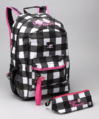 Black & White Plaid Backpack & Pencil Case