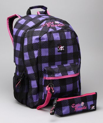 Purple & Black Plaid Backpack & Pencil Case