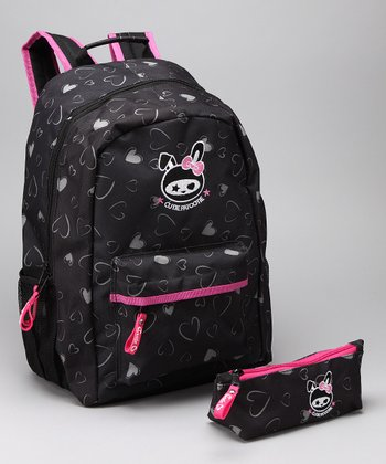 Black Heart Backpack & Pencil Case