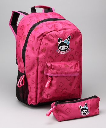 Hot Pink Heart Backpack & Pencil Case