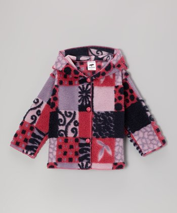 Purple & Navy Patchwork Jacket - Toddler & Girls
