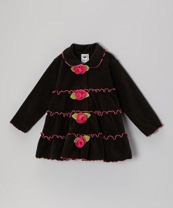 Black & Pink Tiered Rose Jacket - Infant, Toddler & Girls