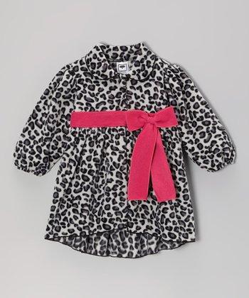 Gray & Fuchsia Leopard Jacket  - Infant, Toddler & Girls