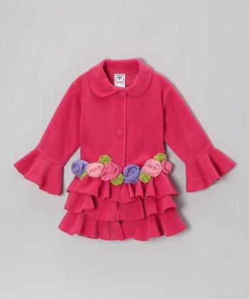 Fuchsia Tiered Ruffle Rose Jacket - Infant, Toddler & Girls