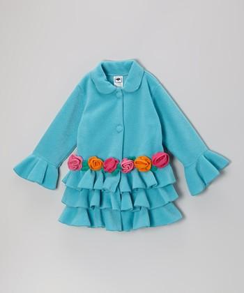 Turquoise Tiered Ruffle Rose Jacket - Infant, Toddler & Girls