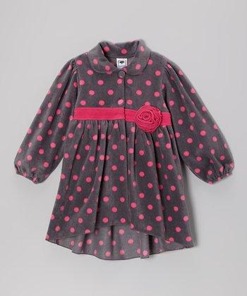 Gray & Pink Polka Dot Jacket - Girls