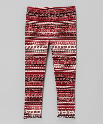 Red & Black Fair Isle Leggings - Infant, Toddler & Girls