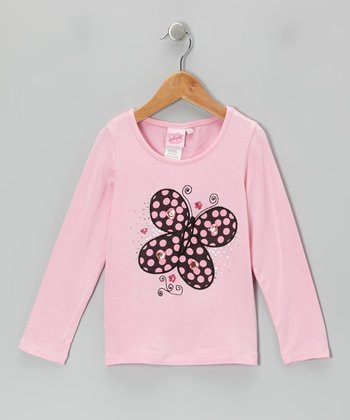 Pink Butterfly Rhinestone Top - Girls
