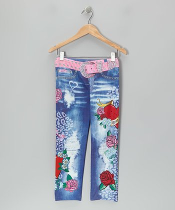 Blue Wash Rose Splatter Jeggings - Girls