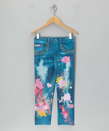 Blue Wash Splatter Jeggings - Girls